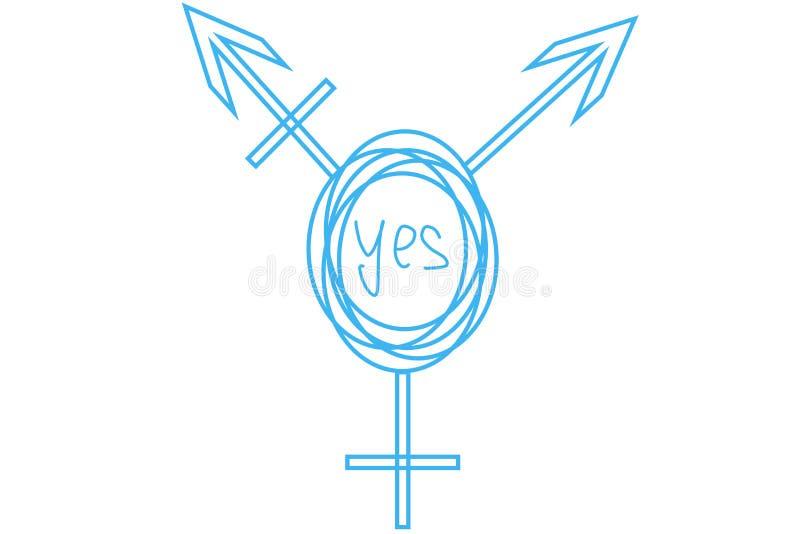 Вычерченный символ Intersex и трансгендерного с текстом в центре: ДА стоковое изображение rf