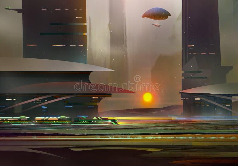 Вычерченный фантастический ландшафт будущего с архитектурой Вечер киберпанка иллюстрация вектора