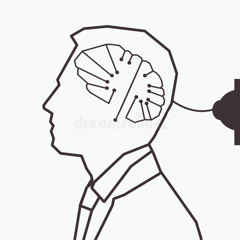 Вычерченный человек с цифровым мозгом иллюстрация вектора