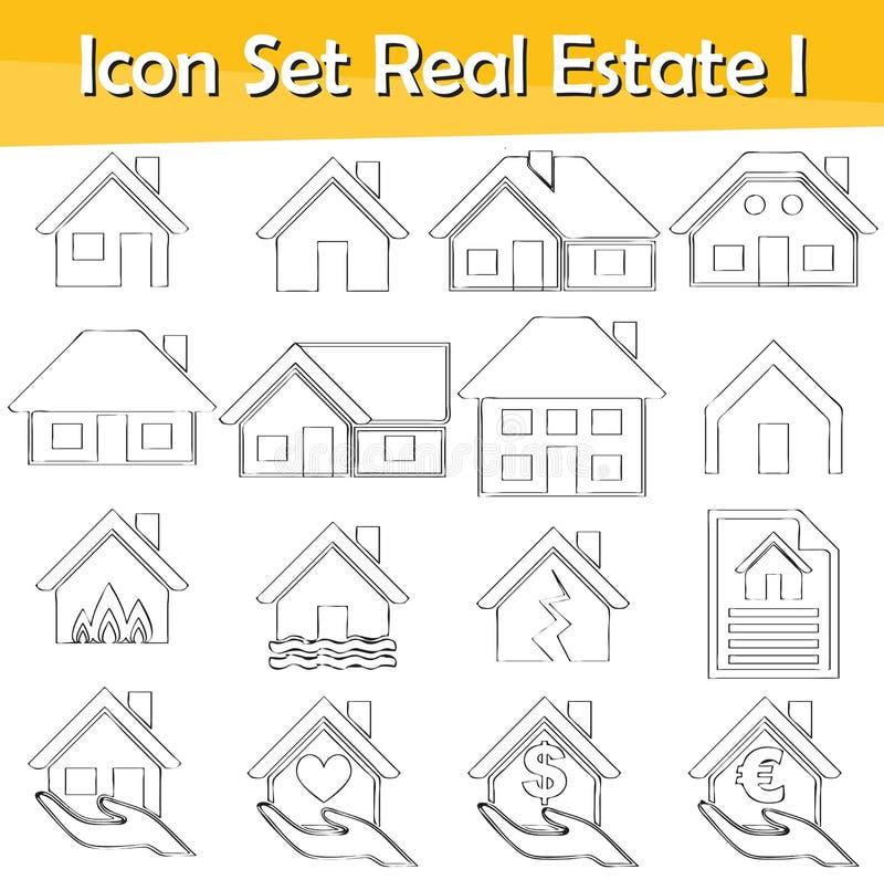 Вычерченный Doodle выровнял недвижимость i значка установленную иллюстрация штока