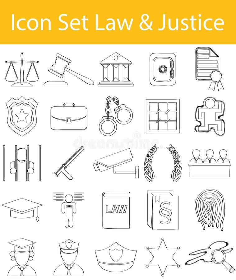 Вычерченный Doodle выровнял закон и правосудие значка установленные бесплатная иллюстрация