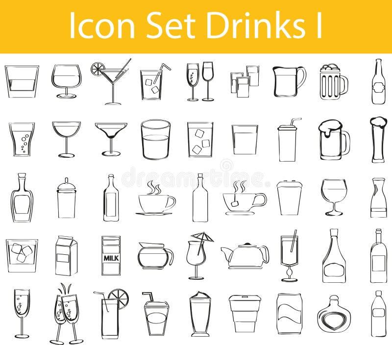 Вычерченный Doodle выровнял пить комплекта значка i бесплатная иллюстрация