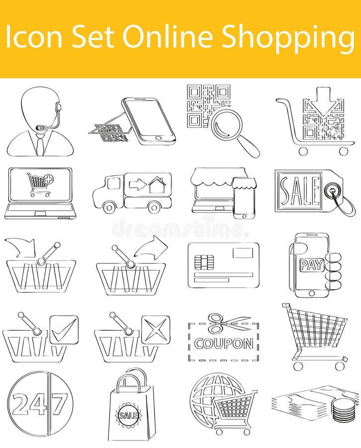 Вычерченный Doodle выровнял покупки значка установленные онлайн иллюстрация штока