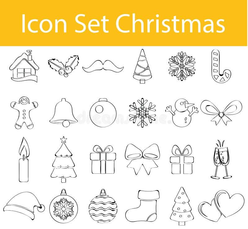 Вычерченный Doodle выровнял рождество значка установленное иллюстрация вектора