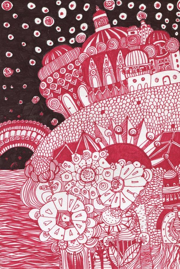 вычерченный fairy сказ дворца руки иллюстрация штока