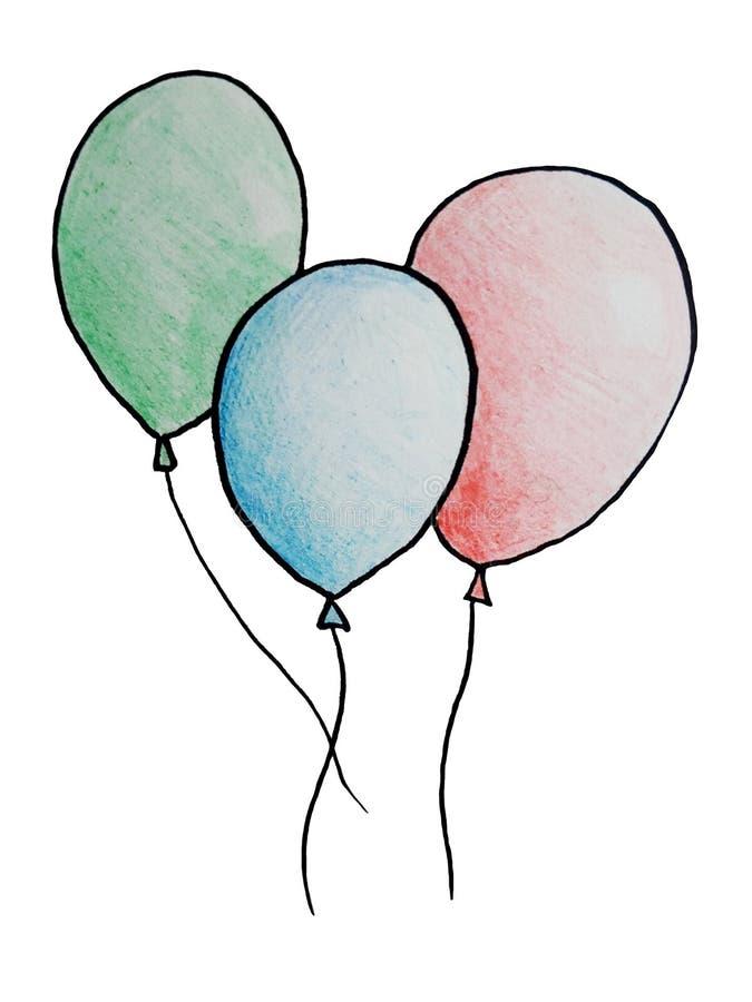 3 вычерченных воздушного шара иллюстрация вектора