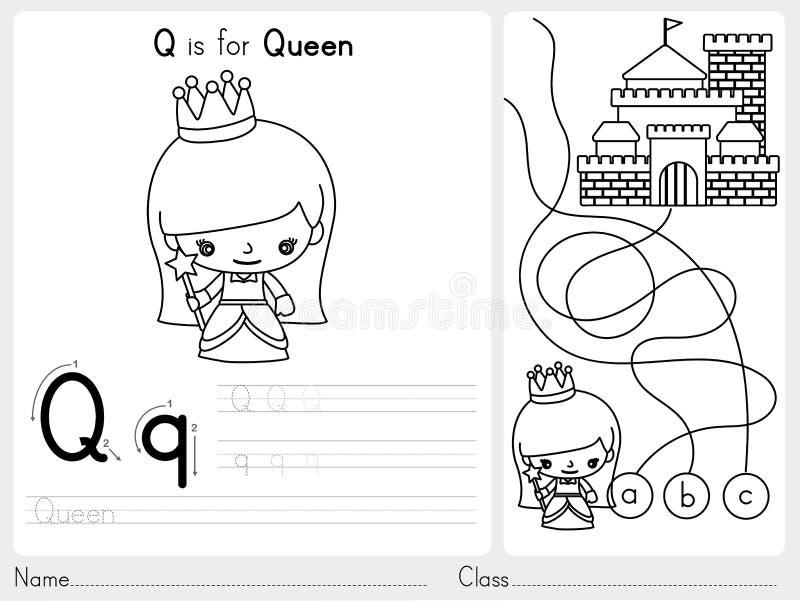 Вычерчивание алфавита ОТ НАЧАЛА ДО КОНЦА и рабочее лист головоломки, тренировки для детей - книжка-раскраски бесплатная иллюстрация