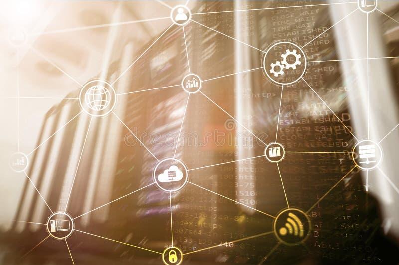 Вычислять и связь облака инфраструктуры технологии интернет принципиальной схемы цвета предпосылки голубой стоковая фотография