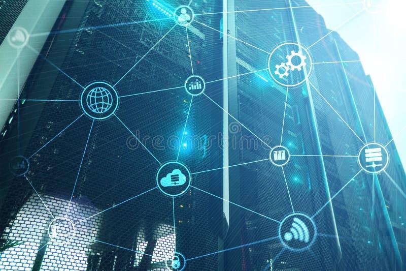 Вычислять и связь облака инфраструктуры технологии интернет принципиальной схемы цвета предпосылки голубой стоковые изображения rf