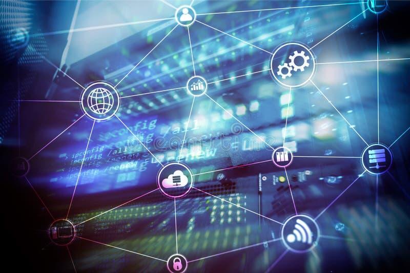 Вычислять и связь облака инфраструктуры технологии интернет принципиальной схемы цвета предпосылки голубой стоковые фото