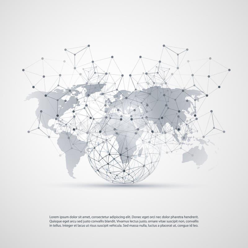 Вычислять облака и концепция сетей с картой мира - глобальными сетевыми подключениями цифров, предпосылкой технологии, творческим иллюстрация штока
