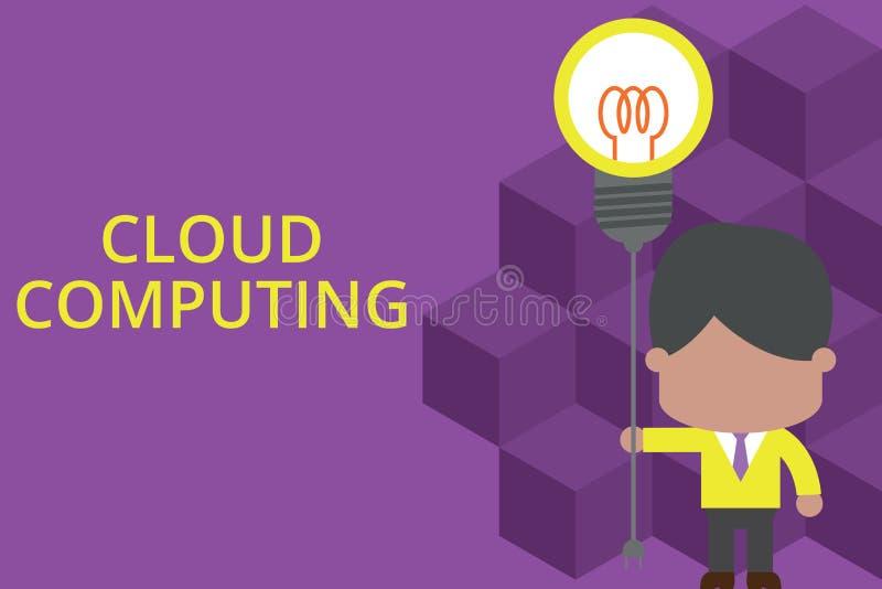 Вычислять облака сочинительства текста почерка Значить концепции использует сеть удаленных серверов, который хозяйничают в Интерн иллюстрация штока