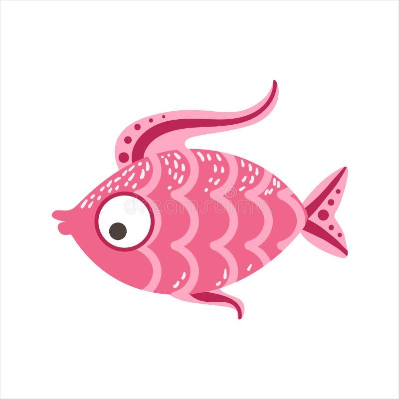 Вычисленные по маcштабу пинком фантастические красочные рыбы аквариума, животное тропического рифа акватическое иллюстрация вектора