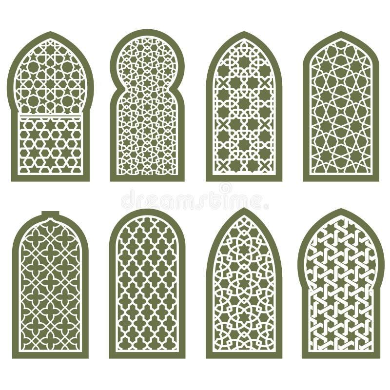 Вычисляемый аравийский орнамент окна - картина арабескы скрежетать бесплатная иллюстрация