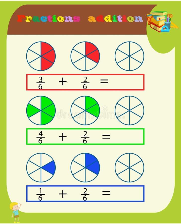 Вычитать дробит математическое рабочее лист Треугольники r Головоломка математики Воспитательная игра r PR иллюстрация вектора
