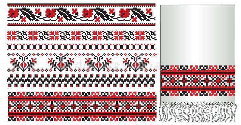 вышейте ukrainian полотенца картины иллюстрация вектора