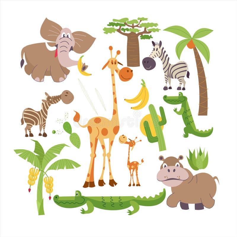вышесказанного Африканские животные и растения Комплект иллюстраций вектора в стиле шаржа иллюстрация вектора