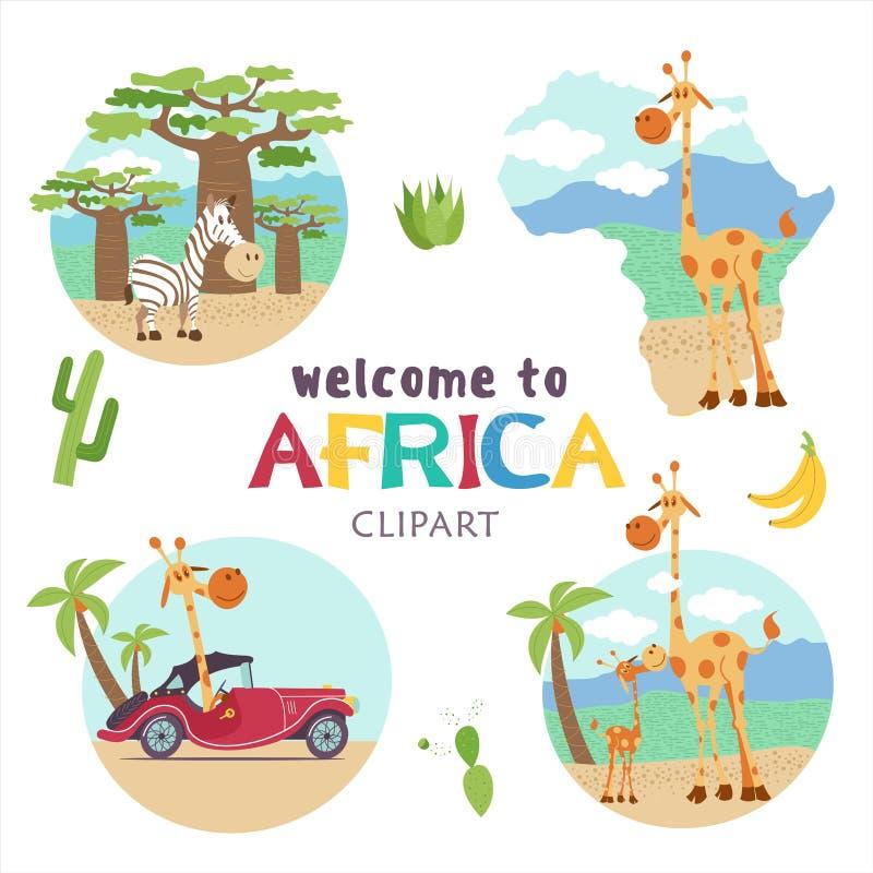 вышесказанного Африканские животные и растения Комплект иллюстраций вектора в стиле шаржа бесплатная иллюстрация