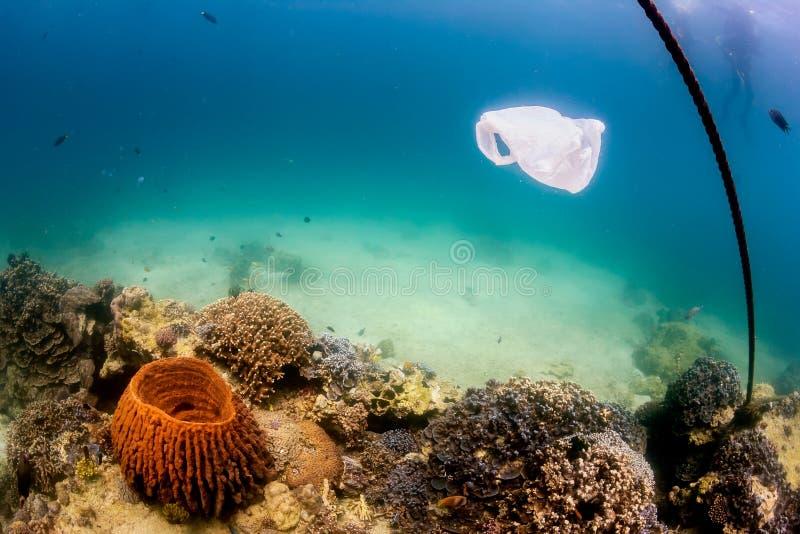 Вышедший из употребления полиэтиленовый пакет плавая над коралловым рифом стоковое изображение