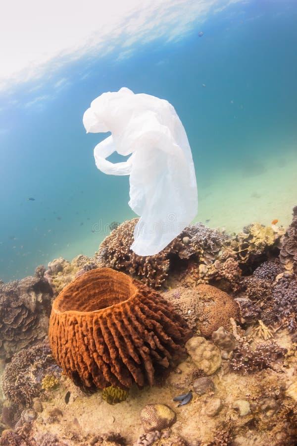 Вышедший из употребления полиэтиленовый пакет плавая над коралловым рифом стоковое фото rf