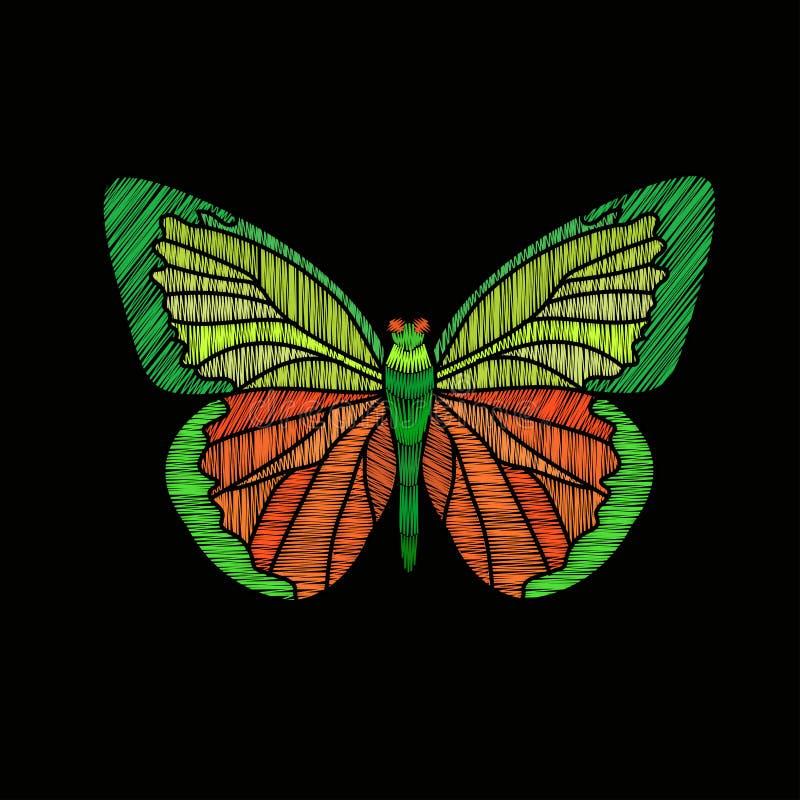 Вышивка бабочки на черной предпосылке иллюстрация вектора