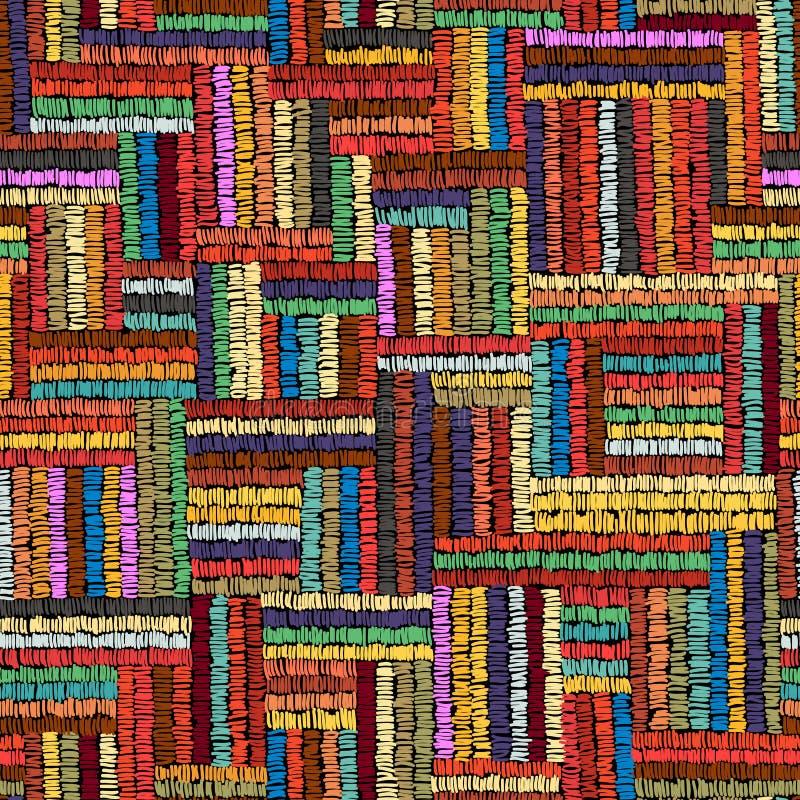 Вышивка - безшовный орнамент Покрашенные линии на черном backgro иллюстрация штока