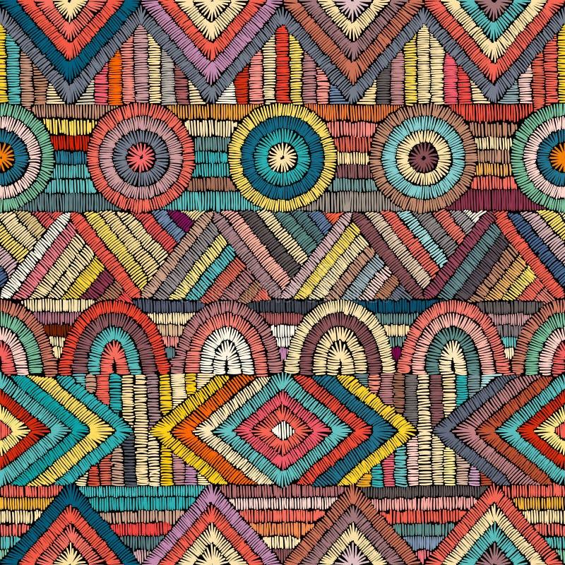 Вышивка - безшовный орнамент Покрашенные линии на черном backgro бесплатная иллюстрация