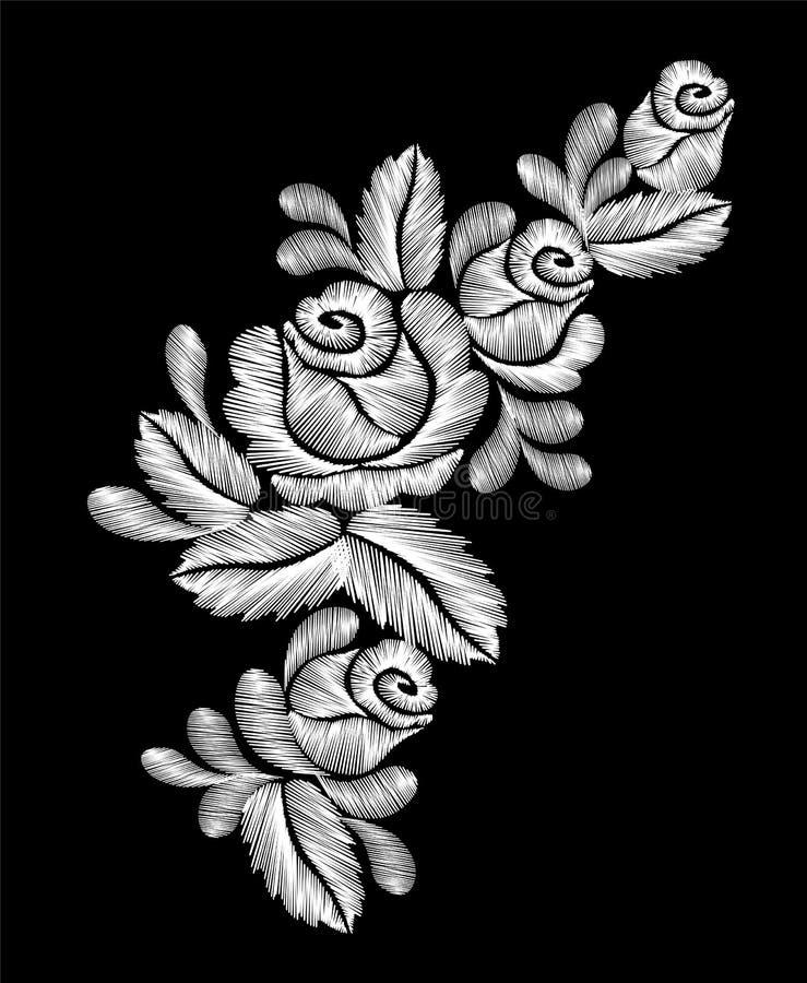 Вышивка белых роз на черной предпосылке этническая линия графики шеи цветков дизайна цветка фасонирует носить бесплатная иллюстрация
