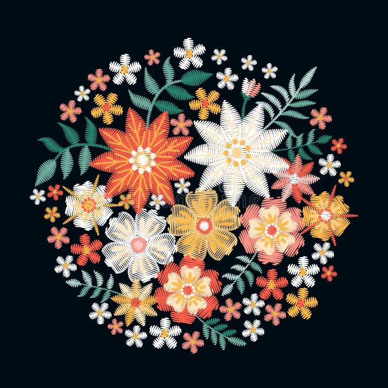 Вышивка Букет с милыми цветками и листьями лета Красивая картина круга бесплатная иллюстрация