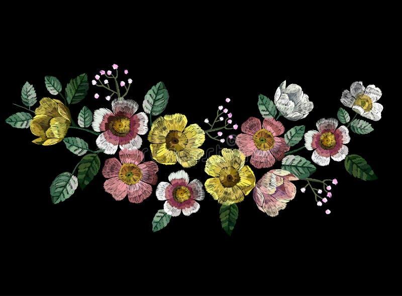 Вышивка вектора с цветками иллюстрация вектора