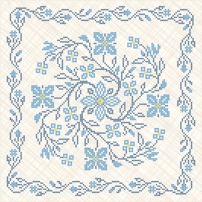 Вышивка вышивки крестом в украинском типе иллюстрация вектора