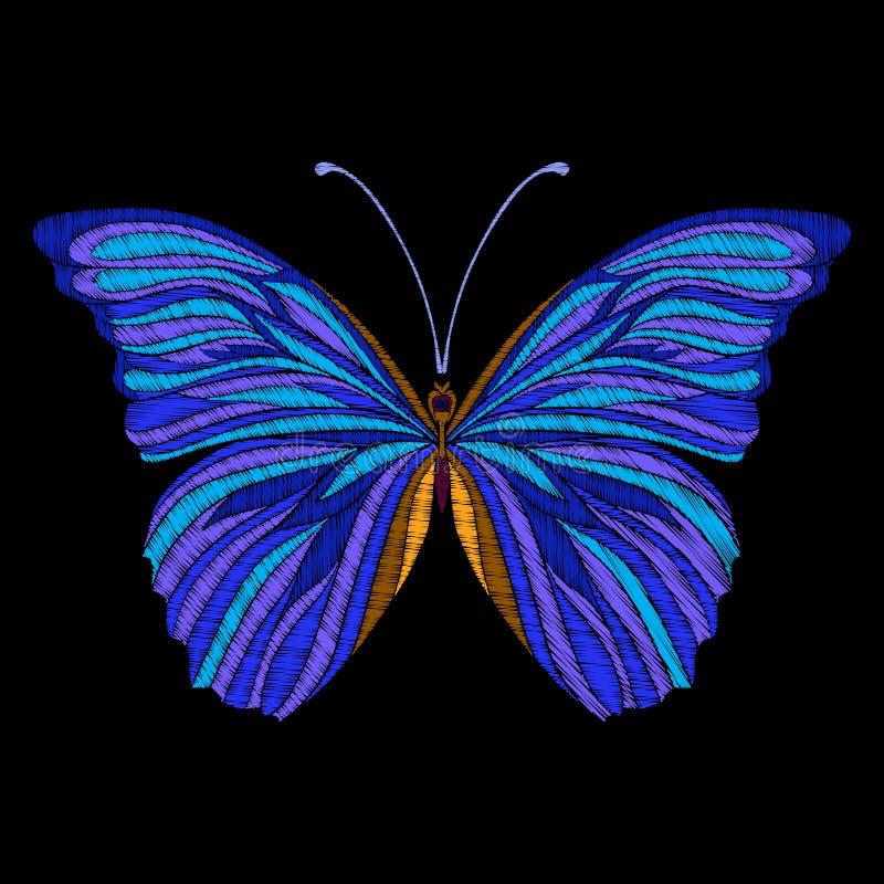 Вышивка Вышитая бабочка элемента дизайна - в годе сбора винограда иллюстрация штока