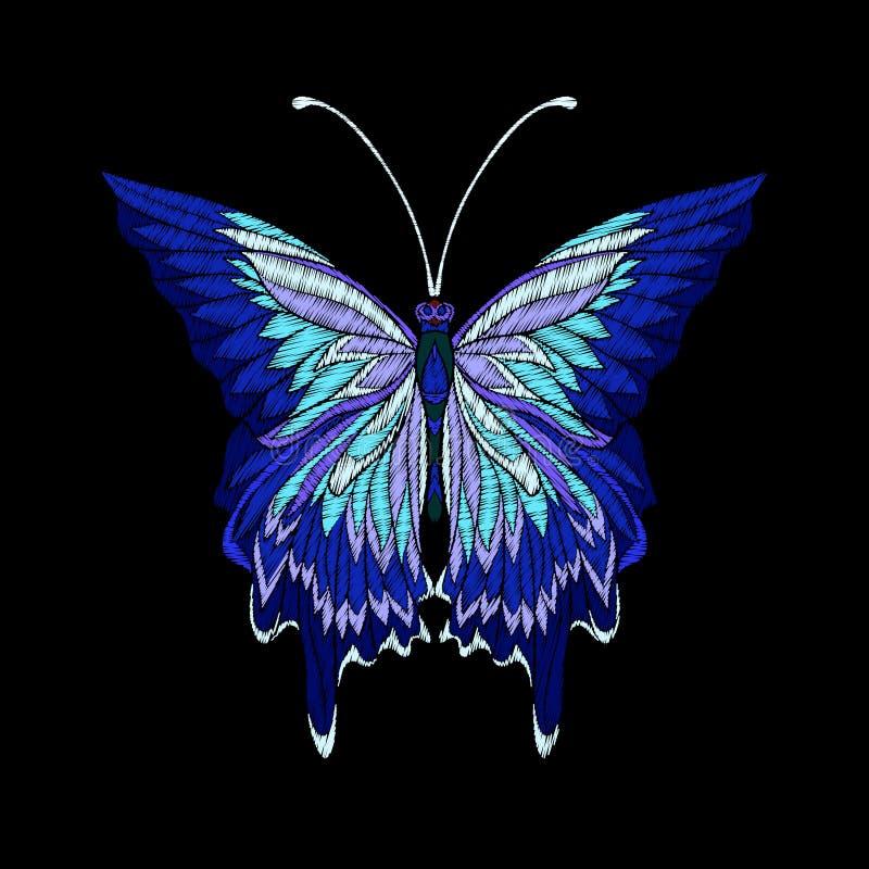 Вышивка Вышитая бабочка элемента дизайна - в годе сбора винограда иллюстрация вектора
