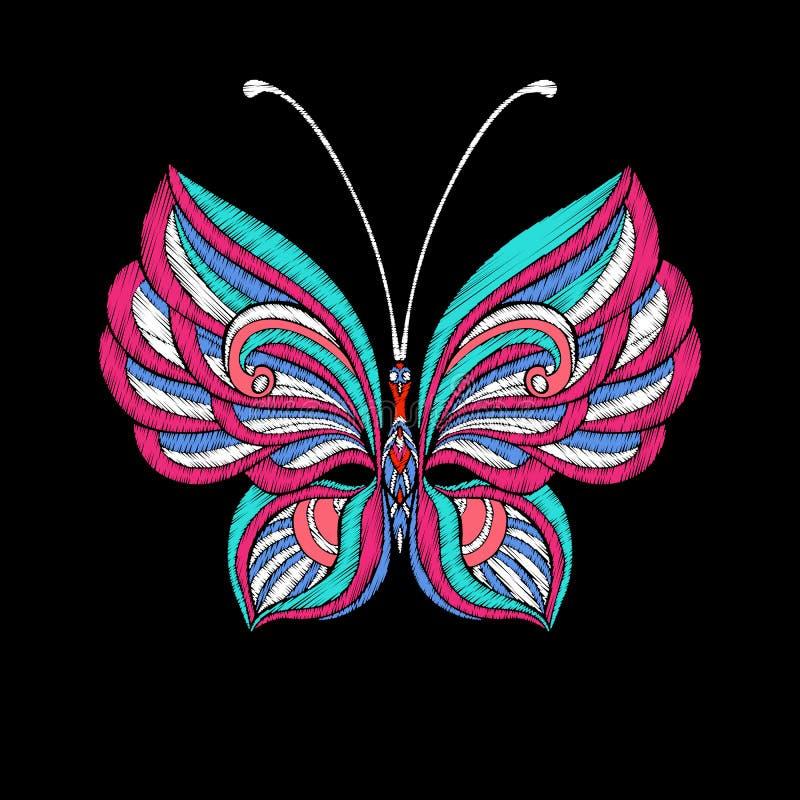 Вышивка Вышитая бабочка элемента дизайна - в st года сбора винограда бесплатная иллюстрация