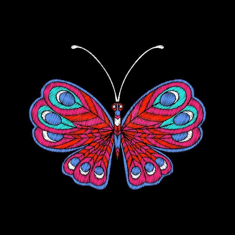 Вышивка Вышитая бабочка элемента дизайна - в st года сбора винограда иллюстрация штока