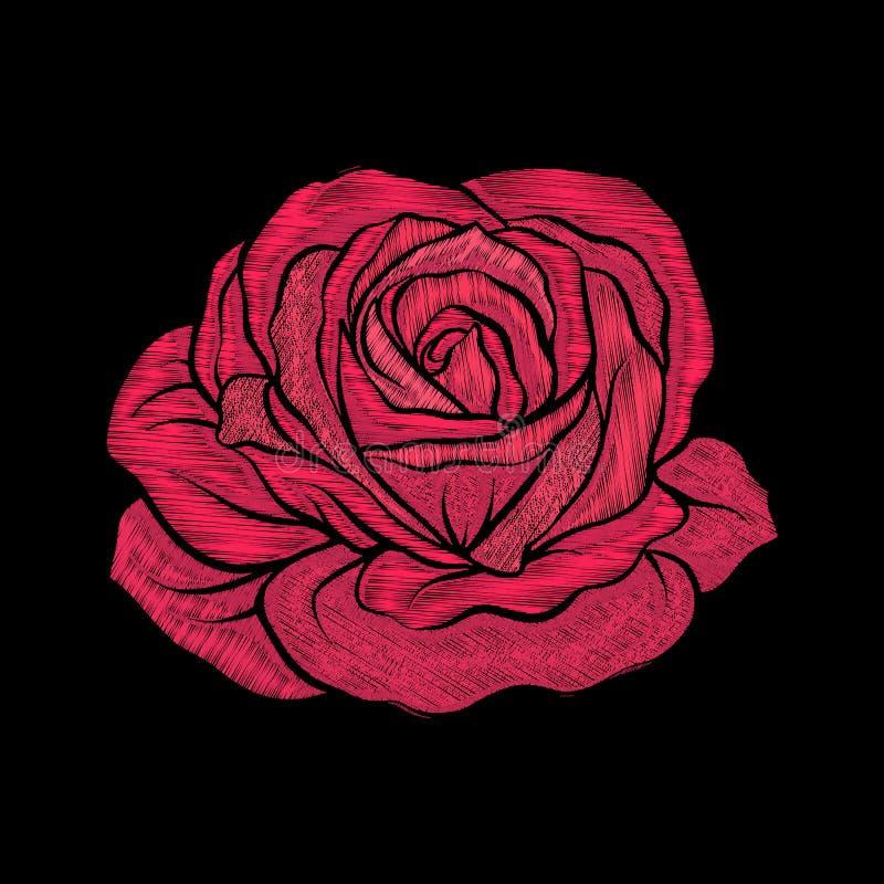 Вышивка Вышитая красная роза элементов дизайна в винтажном styl иллюстрация штока