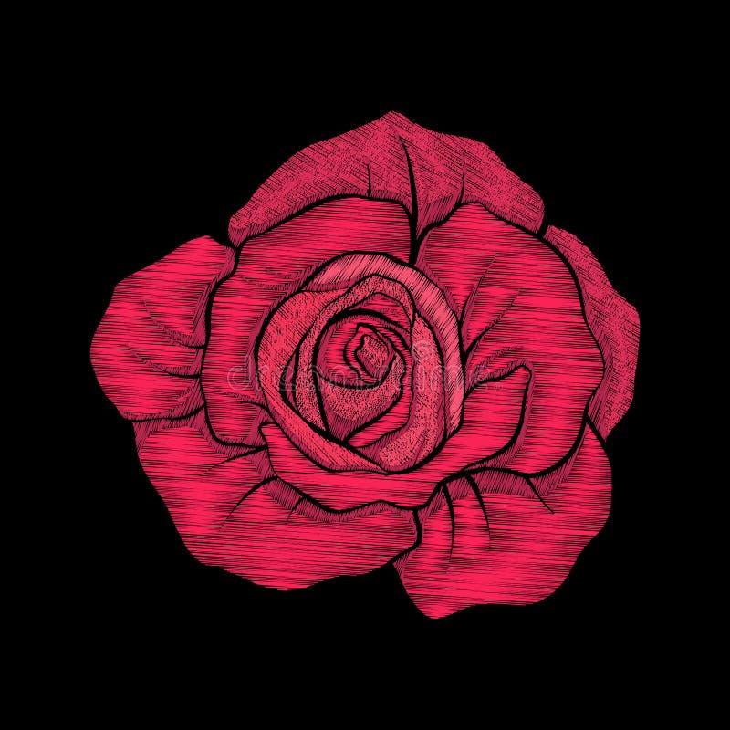 Вышивка Вышитая красная роза элементов дизайна в винтажном styl иллюстрация вектора