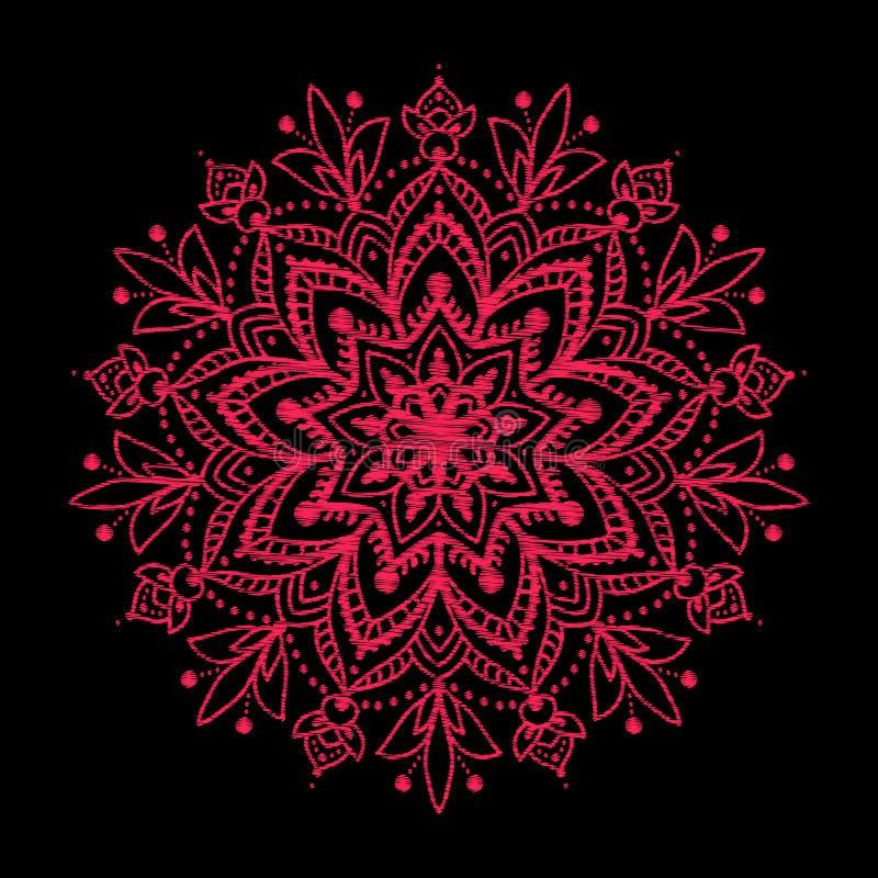 Вышивка Вышитая мандала элементов дизайна красная в годе сбора винограда s бесплатная иллюстрация