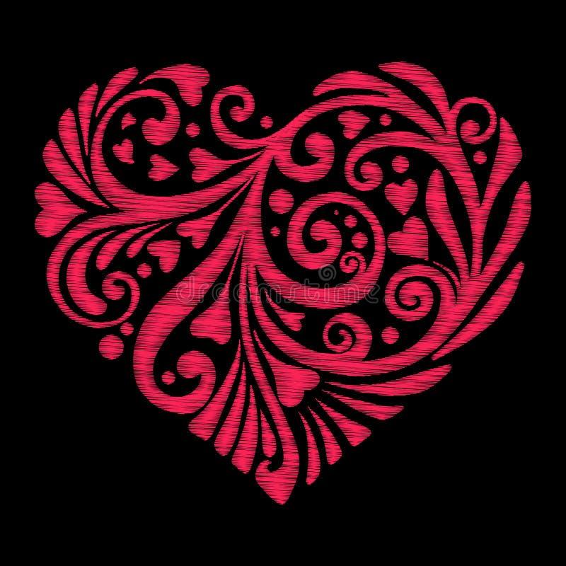 Вышивка Вышитое сердце влюбленности элементов дизайна с цветками бесплатная иллюстрация