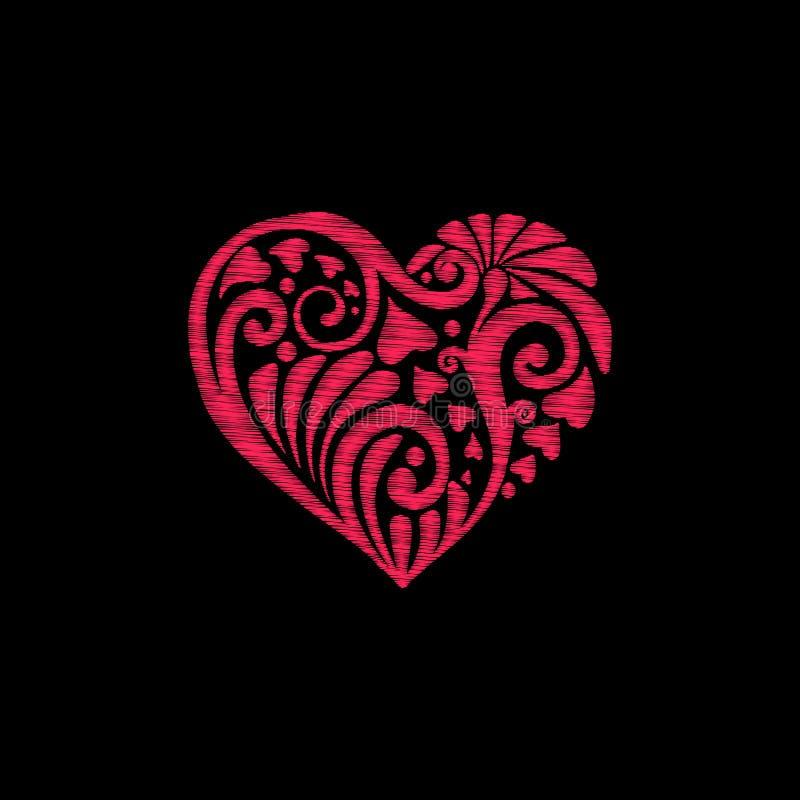 Вышивка Вышитое сердце влюбленности элементов дизайна с цветками иллюстрация штока