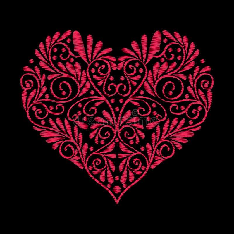 Вышивка Вышитое сердце влюбленности элементов дизайна с цветками иллюстрация вектора