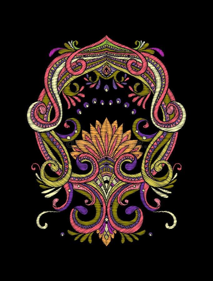 Вышивка Вышитые элементы дизайна в винтажном стиле на bl бесплатная иллюстрация