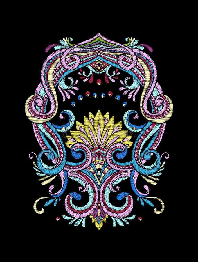 Вышивка Вышитые элементы дизайна в винтажном стиле на bl иллюстрация вектора