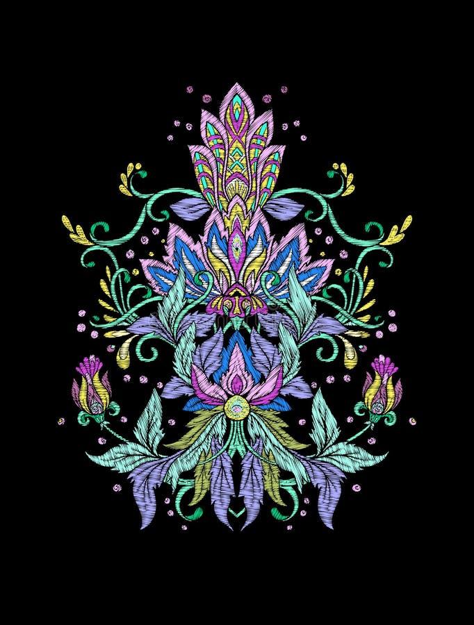 Вышивка Вышитые элементы дизайна в винтажном стиле на bl иллюстрация штока