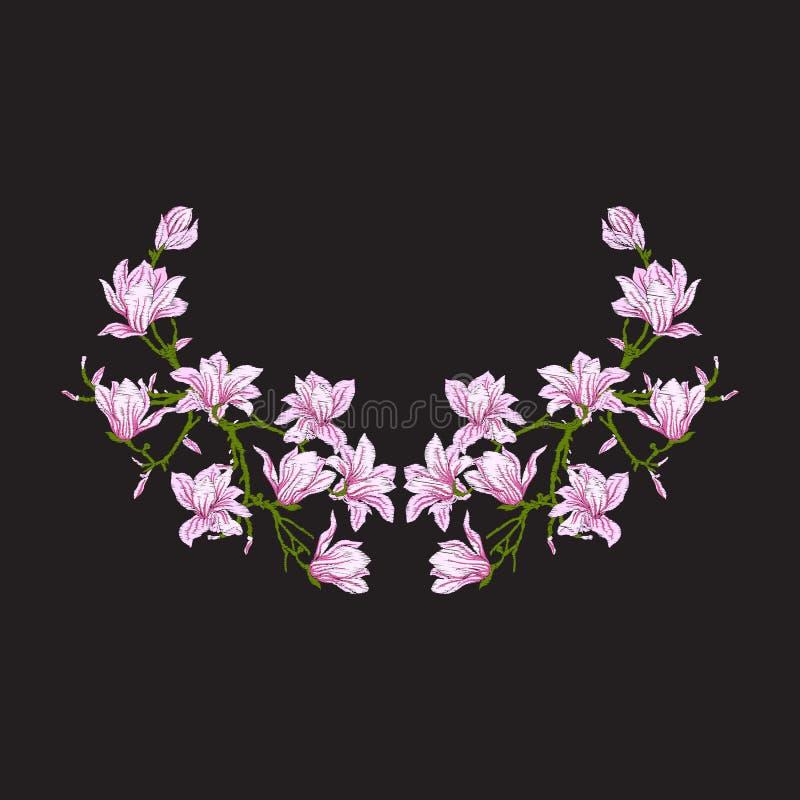 Вышивка Вышитые элементы дизайна с магнолией цветут иллюстрация вектора