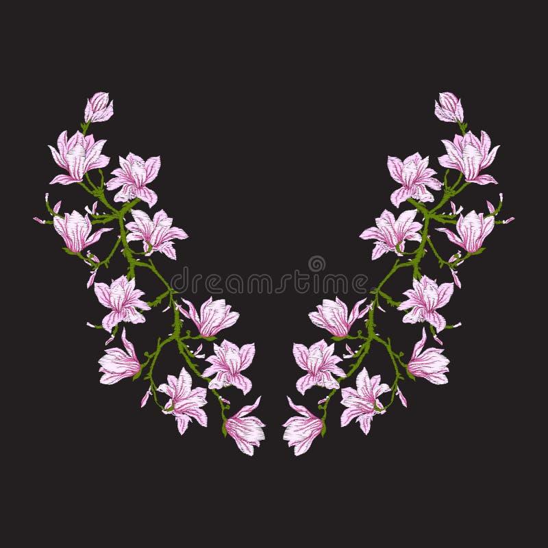 Вышивка Вышитые элементы дизайна с магнолией цветут бесплатная иллюстрация