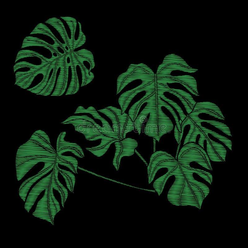 Вышивка Вышитые элементы дизайна с тропическим заводом иллюстрация штока