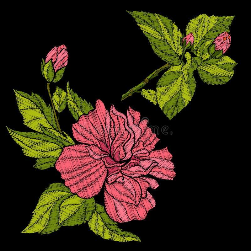 Вышивка Вышитые элементы дизайна с тропическим заводом бесплатная иллюстрация