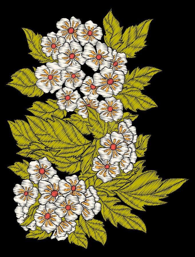 Вышивка Вышитые элементы дизайна с цветками и листьями иллюстрация штока