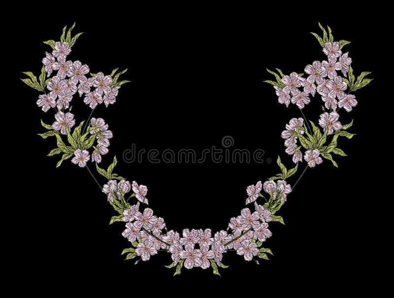 Вышивка Вышитые элементы дизайна с цветками и листьями бесплатная иллюстрация